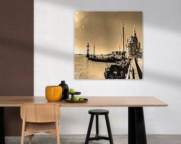 Hoorn Haven Noord-Holland Nederland Sepia van Hendrik-Jan Kornelis