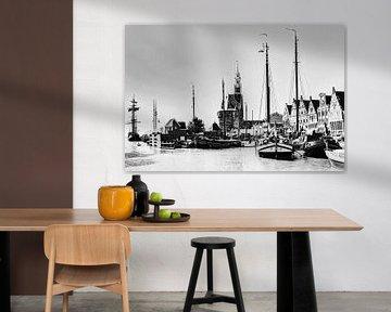 Port de Hoorn Hollande du Nord Pays-Bas Noir et blanc sur Hendrik-Jan Kornelis