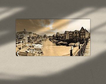 Hafen von Dordrecht Niederlande Sepia von Hendrik-Jan Kornelis