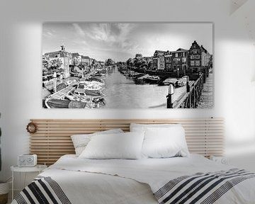 Hafen von Dordrecht Niederlande Schwarz und Weiß von Hendrik-Jan Kornelis