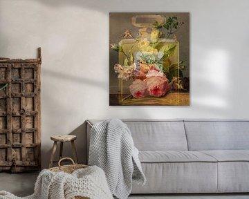 Stillleben Chique mit Blumen, Rotkehlchen und Schmetterling von Rudy & Gisela Schlechter