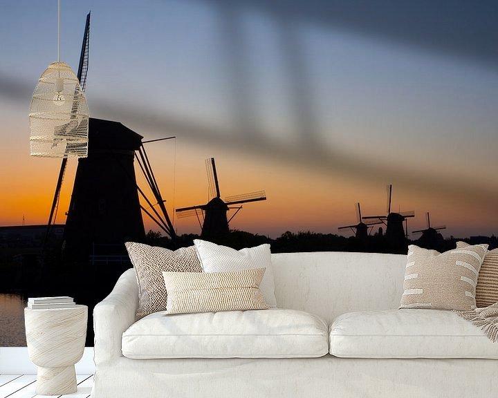 Sfeerimpressie behang: Laatste licht over Kinderdijk van Jan Enthoven Fotografie