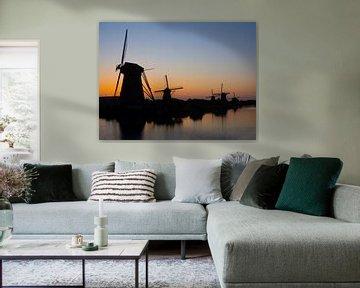 Letztes Licht auf Kinderdijk von Jan Enthoven Fotografie