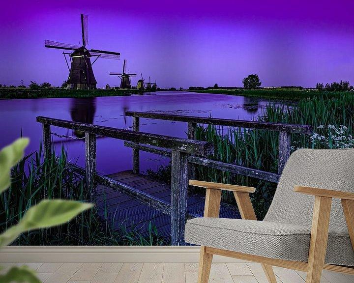 Sfeerimpressie behang: Het blauwe uurtje op Kinderdijk van Jan Enthoven Fotografie