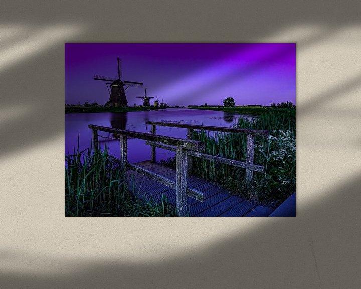 Sfeerimpressie: Het blauwe uurtje op Kinderdijk van Jan Enthoven Fotografie