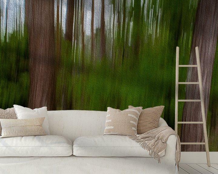 Sfeerimpressie behang: Lijnen in het bos door digitale kunst van JM de Jong-Jansen