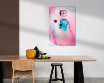 Abstrakt rosa und blau von Jeannine Van den Boer
