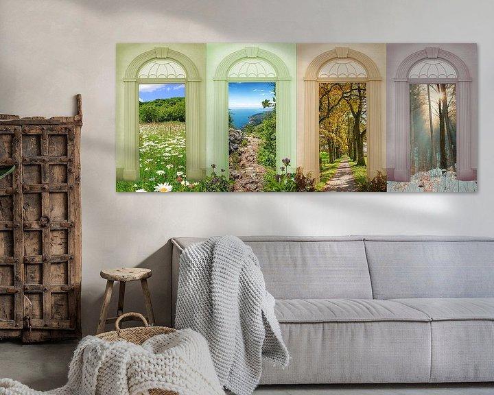 Sfeerimpressie: Vier seizoenen landschap - madeliefjesweide, wandelpad aan het Gardameer, eikenlaan, winterbos van Susanne Bauernfeind