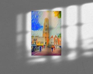 Abstract Schilderij Utrecht Domtoren van Slimme Kunst.nl