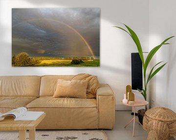 Regenboog aan de avondhemel van Rolf Pötsch