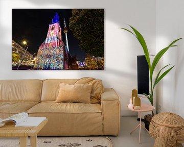 Berlin Alexanderplatz - Marienkirche et tour de télévision sous un éclairage particulier