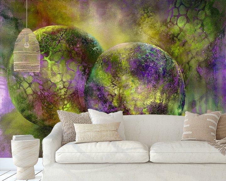 Beispiel fototapete: Kleine Kostbarkeiten - Glaskugeln im Licht mit gelb und violett von Annette Schmucker
