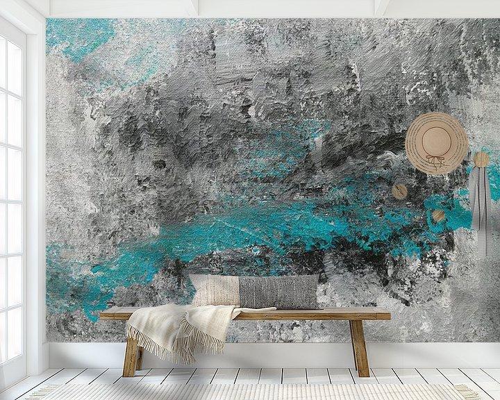 Impression: abstrait en noir et blanc et bleu turquoise sur jolanda verduin