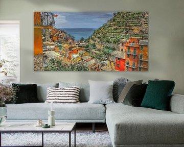 Cinque Terre - Uitzicht over Manarola - Italië - Schilderij
