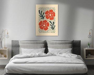 Silhouette Blumen Rot von Rene Hamann