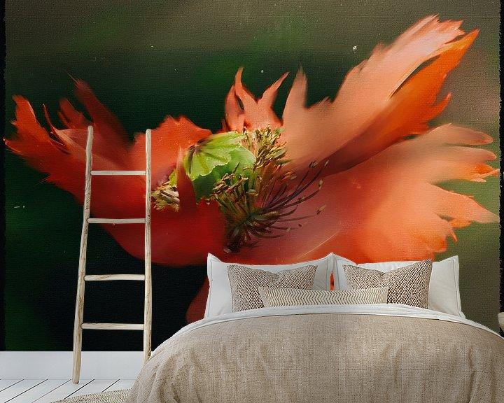 Sfeerimpressie behang: Klaproos schilderij - Roodgerande klaproos van Christine Nöhmeier