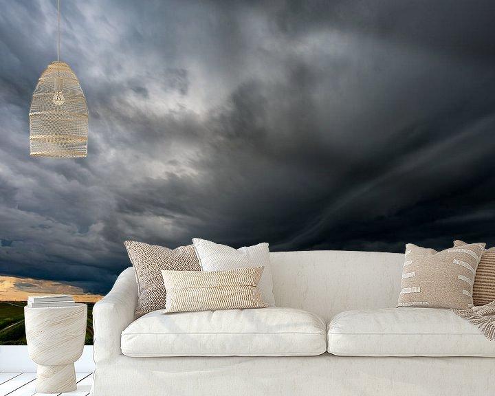 Sfeerimpressie behang: Storm supercell wolk in Zeewolde van Robin van Maanen