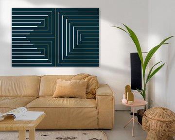 Lignes or et blanches sur bleu sur Studio Malabar
