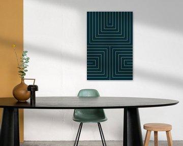 Lignes dorées sur bleu foncé (abstrait moderne) sur Studio Malabar