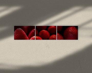 Triptyque macro panorama rouge fraises fraîches et mûres sur Dieter Walther