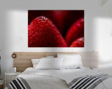 Macro forme de fraise, fruit frais et mûr. sur Dieter Walther
