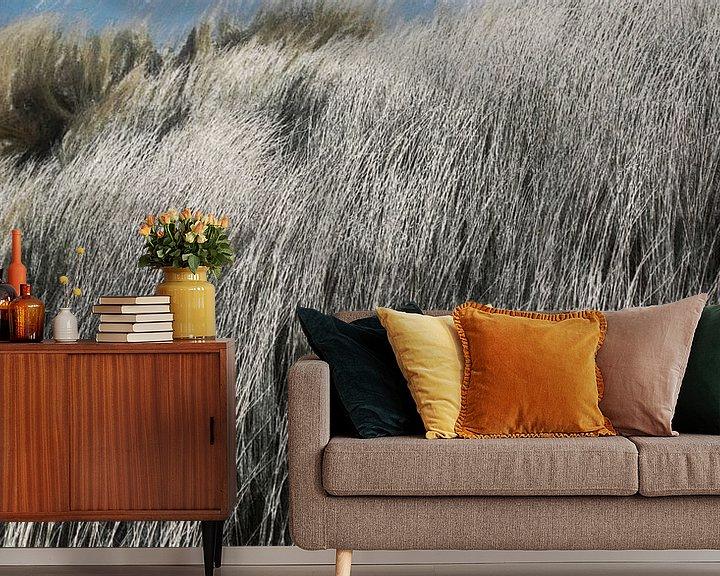 Impression: Casque - Herbe des dunes dans le vent - Peinture sur Schildersatelier van der Ven
