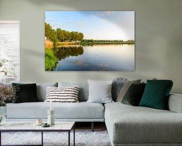 Sonnenaufgang über einem Teich am Zwartendijk bei Kampen während des Frühlings von Sjoerd van der Wal