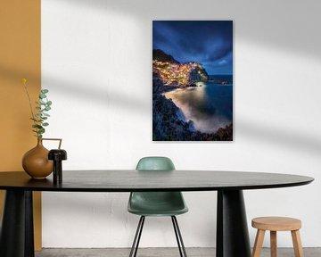 Vissersdorp Manarola in de Cinque Terre in Italië. van Voss Fine Art Fotografie
