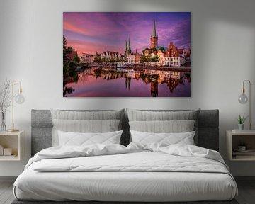 Sonnenuntergang in Lübeck, Deutschland von Michael Abid