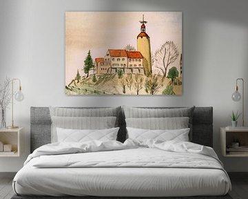 Klooster op de berg - aquarel geschilderd door VK (Veit Kessler) 1969