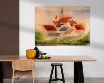 Klein dorp met kerk - aquarel geschilderd door VK (Veit Kessler)