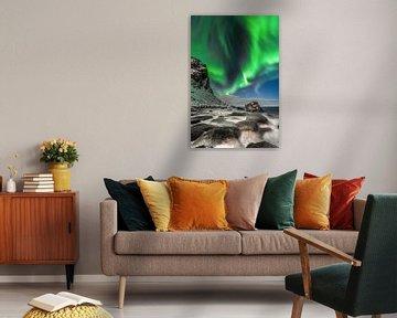 Polarlicht am Strand in Norwegen. von Voss Fine Art Fotografie