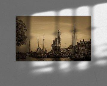 Oude haven met Hoofdtoren Hoorn van Robert Gort