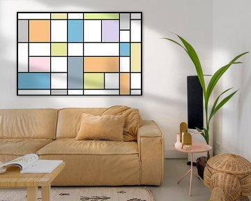 compositie naar de stijl van Piet Mondriaan in pastel van W J Kok