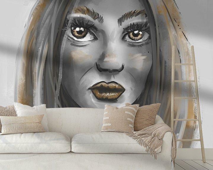 Beispiel fototapete: Porträt einer Frau in Grautönen und Goldakzenten von Emiel de Lange