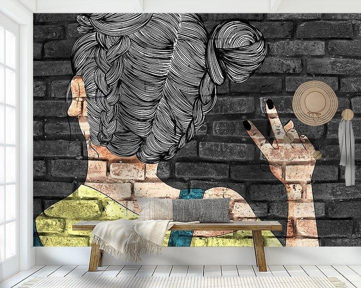 Sfeerimpressie behang: Coole tienermeisjes graffiti op metselwerk van KalliDesignShop