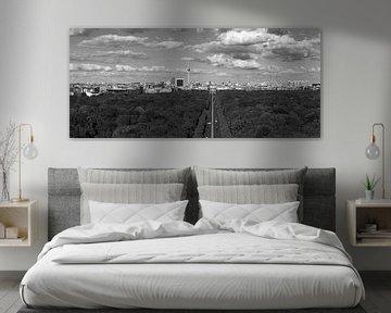 Berlijn Skyline Panorama Zwart-Wit van Frank Herrmann