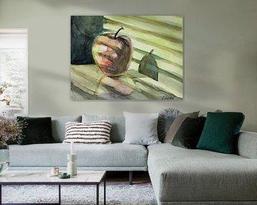 Appel in zonlicht Aquarel van Lineke Lijn
