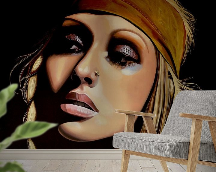 Beispiel fototapete: Christina Aguilera schilderij von Paul Meijering