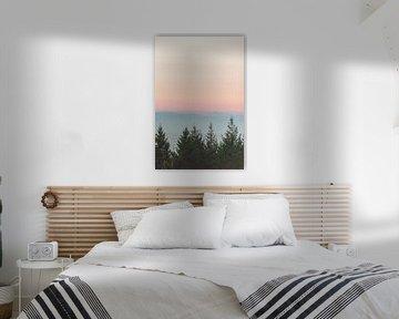 Wald Sonnenuntergang rosa Himmel, Nature Magick  von PI Creative Art