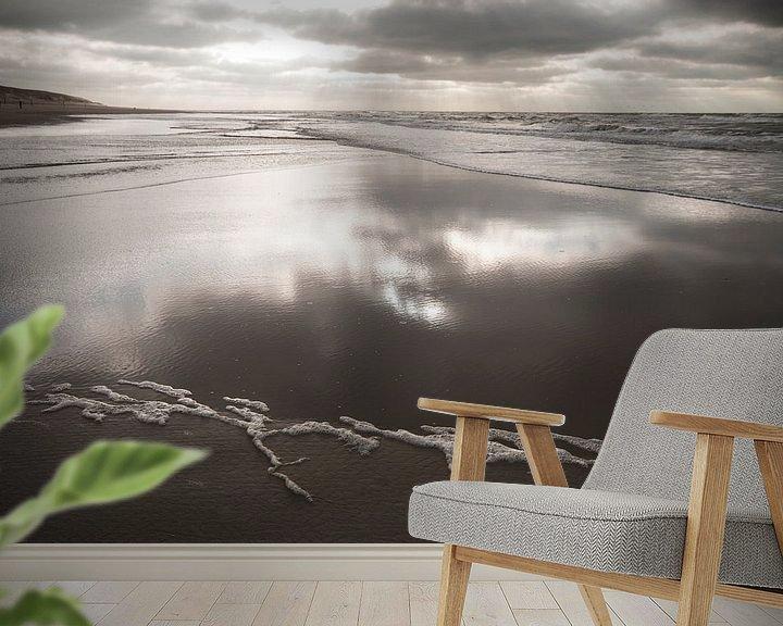 Beispiel fototapete: Terugtrekkend water / strand van Texel von Margo Schoote