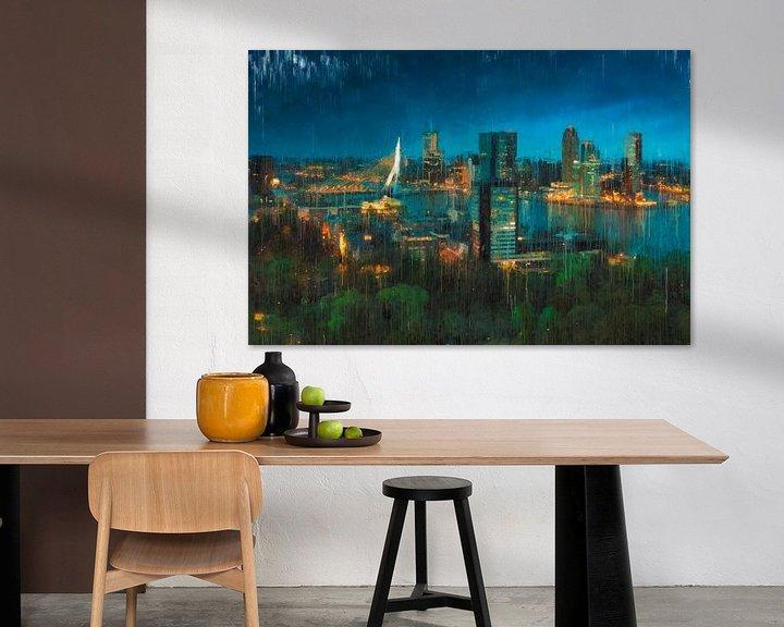 Beispiel: Skyline von Rotterdam bei Nacht gemalt von Arjen Roos
