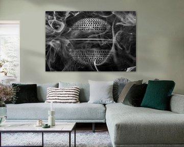 Conceptuele zwart wit macrofoto als achtergrondfoto van een thee ei met rook als zijnde een buitenaa van Tonko Oosterink