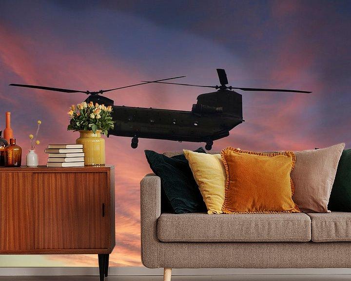 Sfeerimpressie behang: Chinook Helikopter van Brian Morgan