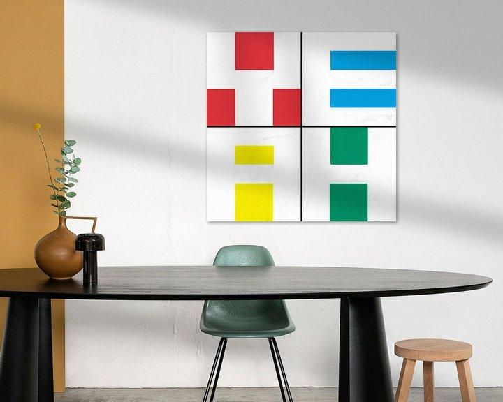 Sfeerimpressie: Geometrische vormen in rood blauw geel groen van Maurice Dawson