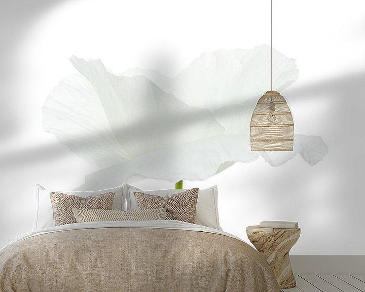 Impression: Coquelicot blanc sur fond blanc sur Tanja van Beuningen
