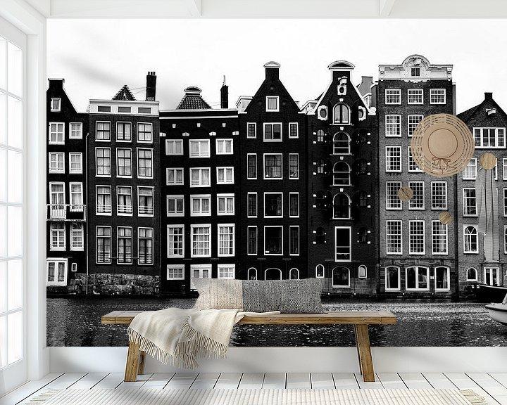 Beispiel fototapete: Der Damrak Amterdam im Schwarz-Weiß-Bild von Linsey Aandewiel-Marijnen