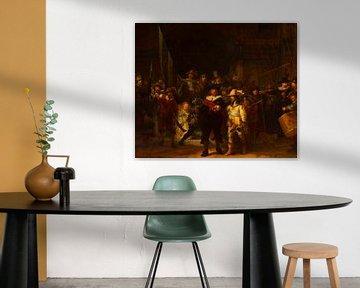 De Nachtwacht van Rembrandt van Rijn in het rood van Rudy en Gisela Schlechter