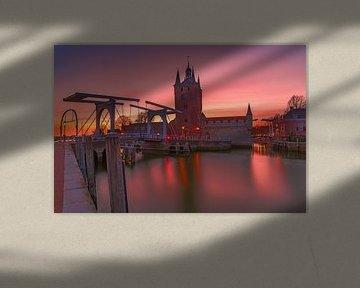 zonsondergang in Zierikzee van Hugo Jongebreur