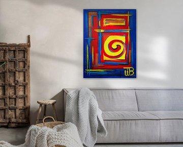 Peinture abstraite colorée avec une spirale
